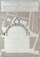 Napoli. Disegno di progetto per l'emiciclo (da T. Colletta, Piazza Plebiscito …, 2005).