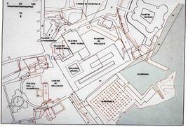 Pianta ricostruttiva delle fasi di trasformazione dell'area  da Largo di Palazzo alla odierna piazza del Plebiscito (da T. Colletta, Piazza Plebiscito …, 2005).