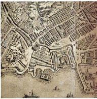 """Napoli. La situazione tardo cinquecentesca dell'area del """"Largo di Santo Loise"""", all'indomani della  riqualificazione  urbanistica  del vicerè Toledo, nel particolare della famosa pianta prospettica Duperac-Lafrery del 1566."""