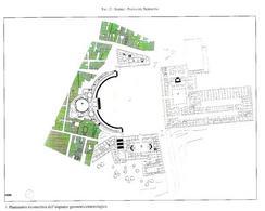 Napoli. Planimetria della piazza ottocentesca ad emiciclo  e delle fabbriche ivi realizzate (da T. Colletta, Piazza Plebiscito …, 2005).