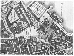 Napoli. Particolare della pianta del duca di Noja del 1775 con il Largo di Palazzo innanzi al palazzo vicereale di Domenico Fontana (da T. Colletta, Piazza Plebiscito …, 2005).