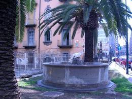 Napoli. Piazzetta di Portosalvo e fontana della tartaruga  nello spazio di pertinenza della chiesa di Portosalvo lungo via Marina (foto dell'a. 2006).