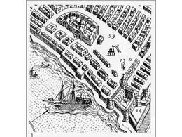Napoli. Particolare  del largo del Mercato nella pianta prospettica del Duperac-Lafrery del 1566 (da T. Colletta, Napoli città portuale e mercantile…, 2006).