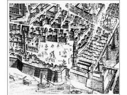 Napoli. Particolare della veduta di Alessandro Baratta (1629) dello spazio del mercato pubblico (da T. Colletta, Napoli città portuale e mercantile…, 2006).
