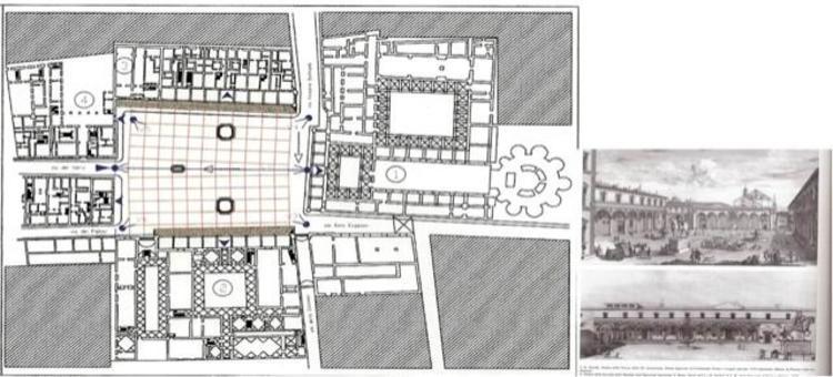 """La restituzione planimetrica della piazza religiosa monumentale dell SS.Annunziata , definita in queste forme dall'architetto Filippo Brunelleschi (da """"Le Piazze storiche italiane""""…2005)."""