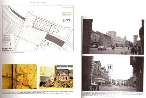 """La piazza maggiore di Ferrara e la visione diagonale (da libro di testo """"Piazze italiane"""" …, 2005)."""