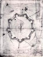 Palmanova. Anonimo rilievo della cinta bastionata della fortezza (1593-1594) (Archivio di Stato di Modena) (da T. Colletta, F. Sergio, Piazza Grande …, 2005).