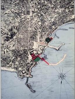 Napoli. Restituzione degli interventi del Fontana a Napoli sulla pianta Carafa (da T. Colletta, Napoli città portuale e …, 2006).