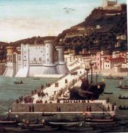 Napoli. Particolare della Tavola Strozzi con il porto angioino-aragonese innanzi il Castelnuovo aragonese (1473) (da T. Colletta, Napoli città portuale e mercantile…, 2006).