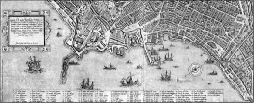 Napoli. Le fortificazioni marittime Toledane nella pianta prospettica Duperac – Lafrery del 1566. (Museo di San Martino)