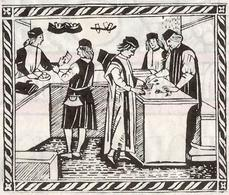 I Banchi dei mercanti in un'antica xilografia cinquecentesca (da T. Colletta, Napoli città portuale e mercantile…, 2006, cap.IV).