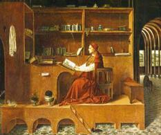 S. Girolamo nel suo studio mentre traduce la Bibbia (Antonello da Messina, particolare)