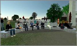 Panel discussion hosted on June 23, 2006 in Second Life by the Berkman Center at Harvard University. Fonte: Flickr