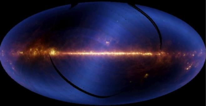 IRAS all-sky image in the infrared, showing clearly the structure of the Milky Way. Credit: NASA.