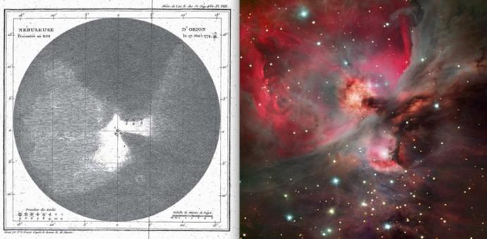 "Left panel: A drawing of the Orion Nebula by the French astronomer Messier, published in 1771,""Mémoires de l'Académie Royale"". This object is now known as Messier 42. Right panel: A modern view of the same object with a large telescope."