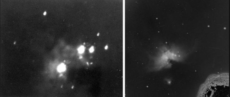 First two photographs of the Orion Nebula by Henry Draper. Credit: Harvard College Observatory.