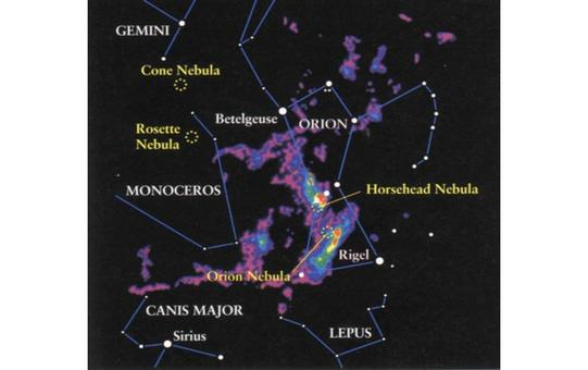 The spatial distribution of the Orion Molecular Cloud Complex, as observed via its CO emission.