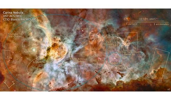 HST mosaic of the complex structure of the Carina Nebula. Also known as the Eta Carina Nebula, or NGC 3372, it is a large bright nebula that surrounds several open clusters of stars.