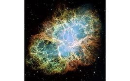 The most famous young SNR, the Crab Nebula,  a six-light-year-wide expanding remnant of a  supernova exploded nearly 1,000 years ago.