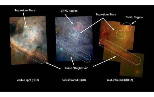 A PDR region in the Orion Bar. The so-called BNKL region contains a massive protostar.Credit: NASA, ESO.