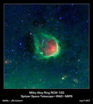 The system RCW 120, observed by the Spitzer Space Telescope in the infrared. Credit: NASA.