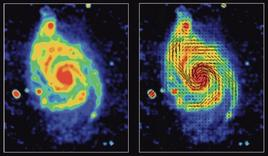 Structure of magnetic field in spiral galaxy M51. Credit: NRAO.