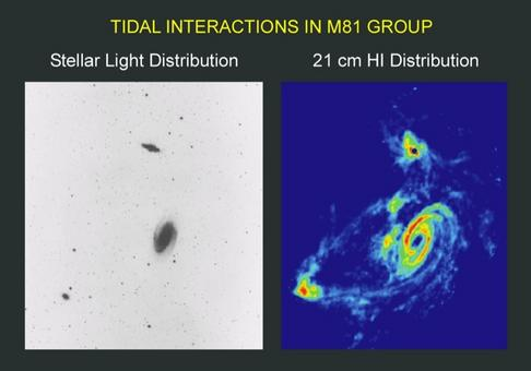 Distribution of HI clouds in the  M81 group of galaxies. Credit: NRAO/AUI.