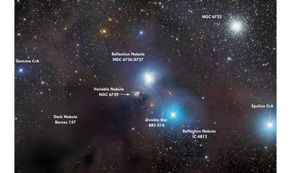 A complex ISM system with blue reflection nebulae (NGC 6726/6727 & IC 4812) and a dark nebula. Credit: Martin Pugh.