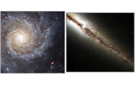 A face-on spiral (M74) and an edge-on spiral (NGC 4013). Credit: NASA/Hubble Space Telescope.