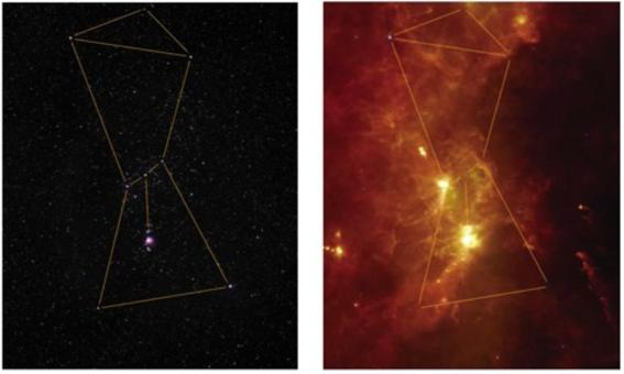 The complex structure of ISM systems in Orion seen by IRAS. Credit: The Infrared Legacy Gallery.