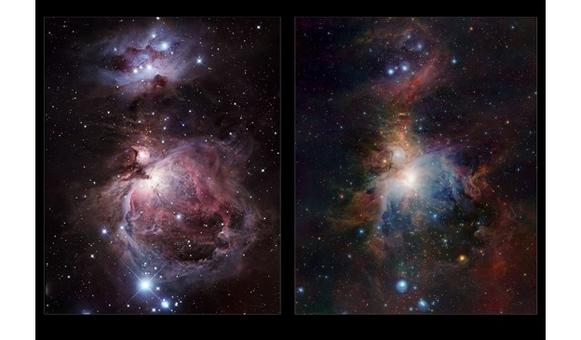 Infrared/visible comparison of the Orion Nebula. Credit: ESO/J. Emerson/VISTA & R. Gendler.