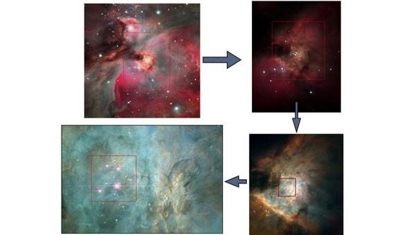 High-resolution images of the region around the Trapezium Star Cluster. Credit: NASA/ESO.