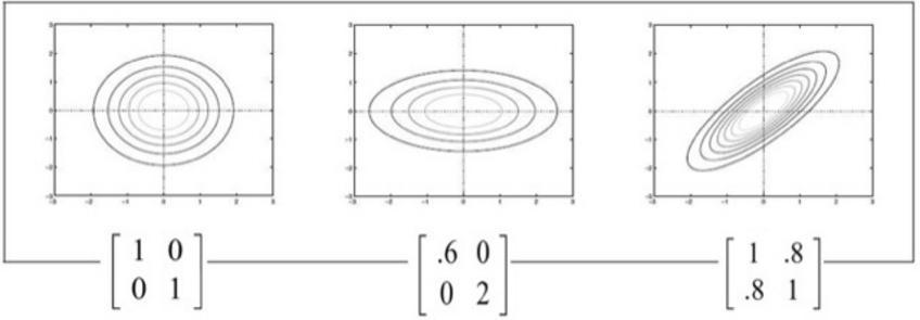 Esempi di matrici di covarianza e relative funzioni di distribuzione.