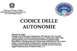 """Disegno di legge """"Codice delle autonomie""""."""