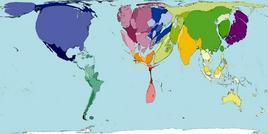 Emissioni di diossido di carbonio al 2000 da worldmapper.com
