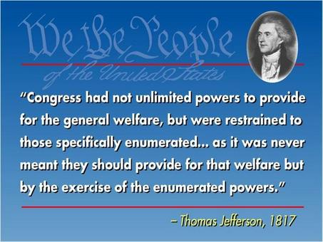Il general welfare secondo Thomas Jefferson. Fonte: Senate Usa