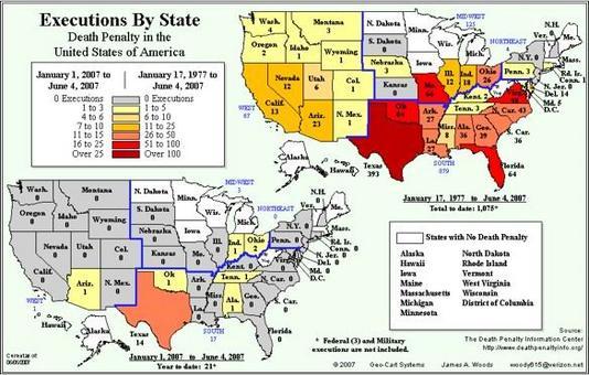 La pena di morte negli Stati Uniti. Fonte: Death Penalty