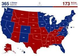 Risultati delle elezioni presidenziali 2008. Fonte: Political Maps