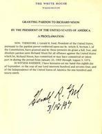 La grazia concessa da Ford a Nixon. Fonte: Presidential Pardon