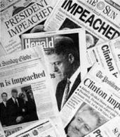 I titoli dei giornali per l'impeachment di Clinton