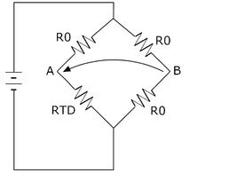 Circuito per la misura della temperatura basato sull'utilizzo di un RTD.