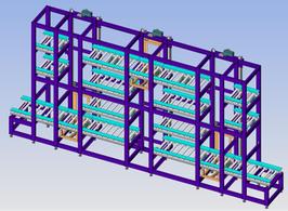 Immagine CAD del prototipo di magazzino industriale presente nei laboratori del DIETI