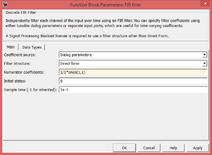 Parametri del filtro FIR