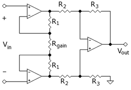 Schema di un amplificatore da strumentazione