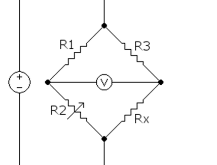 Schema elettrico di un ponte di Wheatstone per la misura della variazione di una resistenza