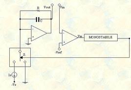 Circuito semplificato di un convertitore frequenza/tensione.