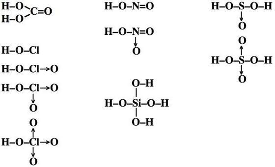 Formule di struttura di alcuni ossiacidi