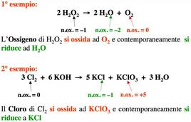 Esempi di reazioni di disproporzionamento (dismutazione)