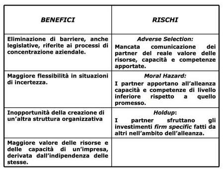 Nella tabella che segue sono illustrati i principali benefici e rischi della cooperazione