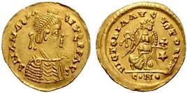 Moneta aurea di Teodorico (circa 500)
